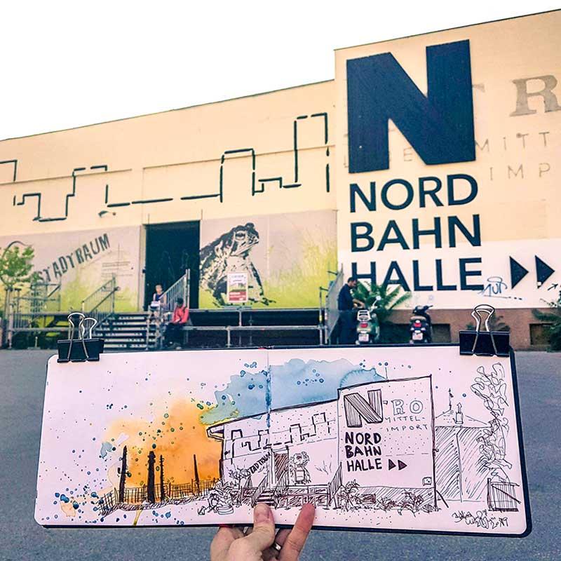 Sketch Bettina Wong Nordbahnhalle, Wien