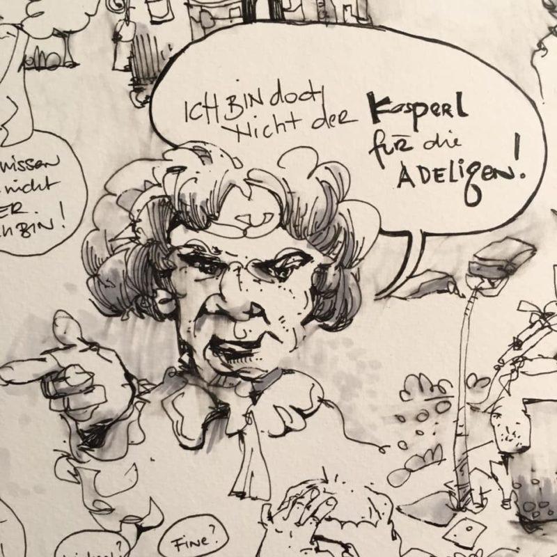 Straßentheater Theaterfink - dwig van Beethoven, der Um-Zugvogel, 2021, Sketch von Oliver Höller